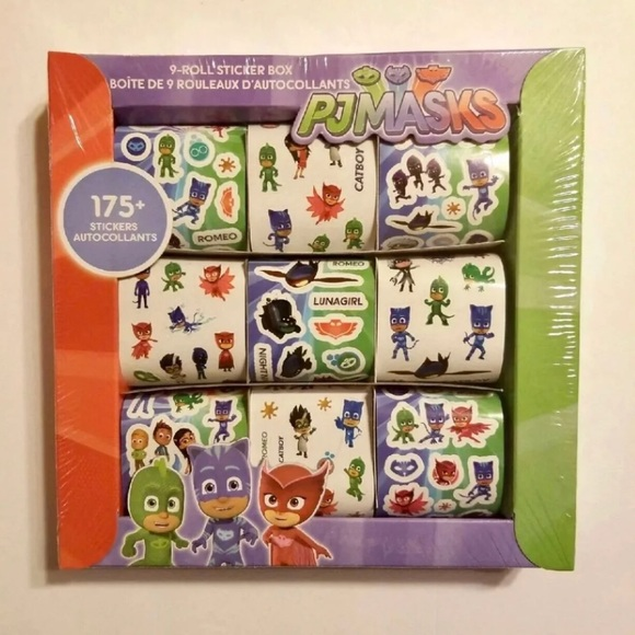 PJ MASKS 9 ROLLS 175+ STICKERS BOX NWT